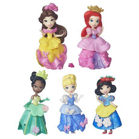 "Disney Princess Little Kingdom Royal Sparkle Collection 5 Each 3/"" Dolls NEW"