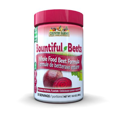 Country Farms Bountiful Beets - Whole Food Beet Formula - Non-GMO,  Gluten-Free, 100% Vegan - 10 6 Oz (300g)