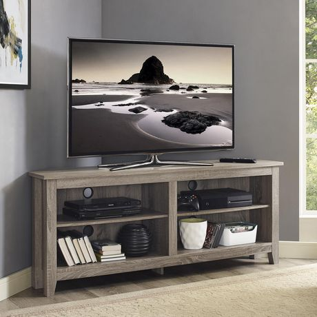 new style d31fe 0cedb Manor Park Simple Farmhouse Corner TV Stand for TV's up to 64
