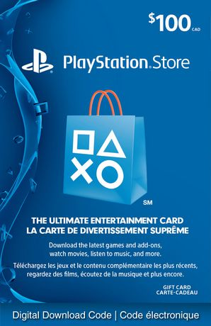 playstationnetwork 100 playstation store gift card digital download walmart canada. Black Bedroom Furniture Sets. Home Design Ideas