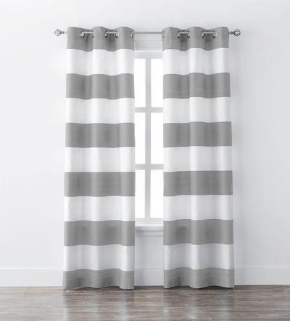 Mainstays Stripe Window Curtains, Grey Striped Curtains