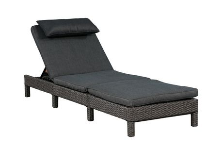 chaise longue laura de patioflare en osier osier gris et coussins gris fonc s walmart canada. Black Bedroom Furniture Sets. Home Design Ideas