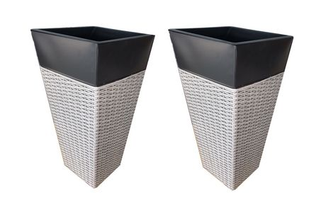 Grapevine Light Grey And Black Zinc And Wicker Planters Walmart Canada