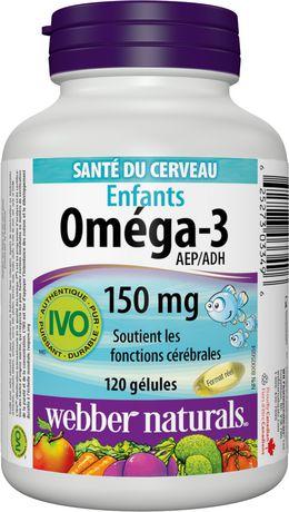 Webber Naturals® Oméga-3 pour enfants 150 mg AEP/ADH, 120 gélules - image 3 de 4
