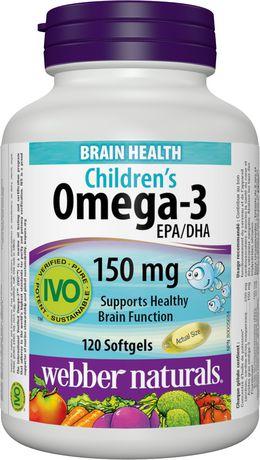 Webber Naturals® Oméga-3 pour enfants 150 mg AEP/ADH, 120 gélules - image 1 de 4