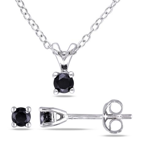 "Asteria 0.50 Carat T.W. Black Diamond Sterling Silver Solitaire Pendant and Earrings Set, 18"" - image 1 of 3"