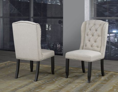 Memphis Dining Chair With Nail Head Trim Set Of 2 Beige