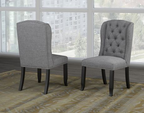 Memphis Dining Chair With Nail Head Trim Set Of 2 Grey