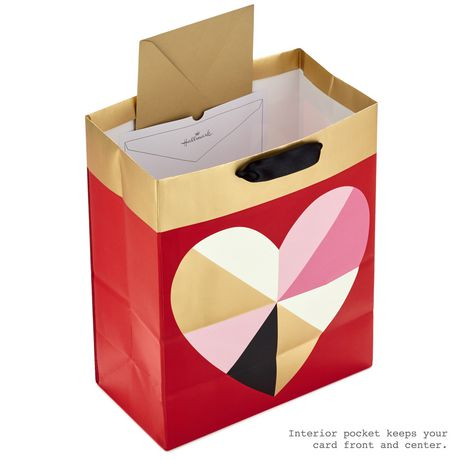 Hallmark Large Valentine's Day Gift Bag with Tissue Paper (Geometric Heart) - image 3 of 5