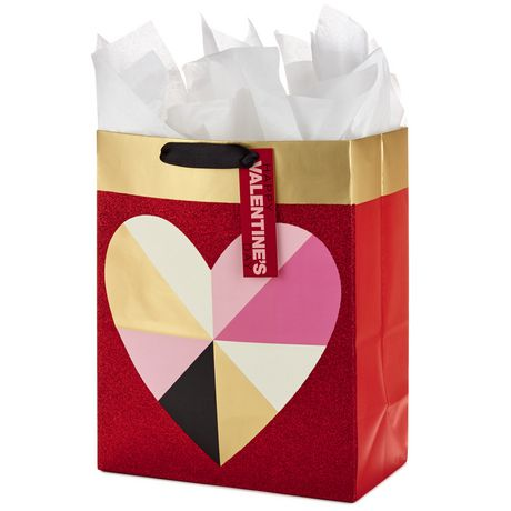 Hallmark Large Valentine's Day Gift Bag with Tissue Paper (Geometric Heart) - image 4 of 5