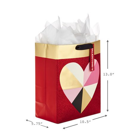 Hallmark Large Valentine's Day Gift Bag with Tissue Paper (Geometric Heart) - image 2 of 5