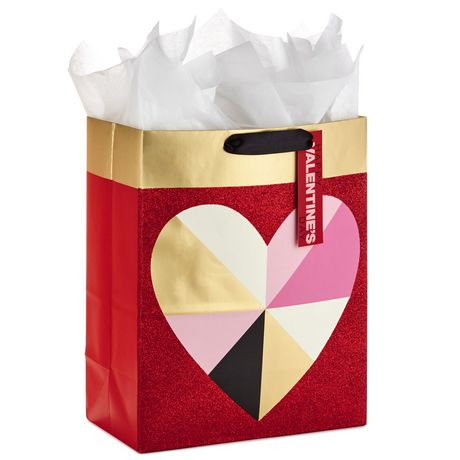 Hallmark Large Valentine's Day Gift Bag with Tissue Paper (Geometric Heart) - image 1 of 5