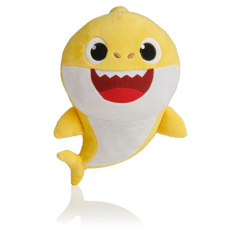 Yellow plush singing shark toy from Baby Shark