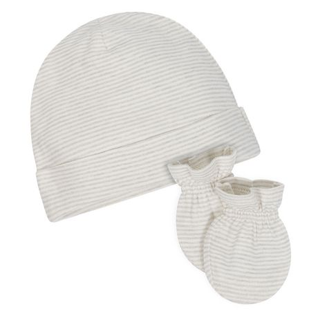 Gerber® Baby Neutral Organic 2-Pack Mittens & 2-Pack Caps - Grey - image 3 of 3