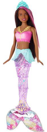 Barbie Dreamtopia Sparkle Lights Mermaid Doll, Brown Hair
