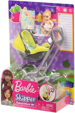 skate shoes the best new authentic Barbie – Babysitters Inc. – Skipper – Poupée et coffret de jeu – Poussette  et bébé avec biberon jaune