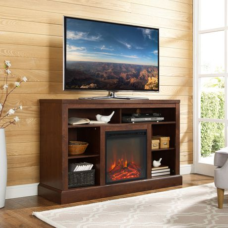 """Manor Park Rustic Fireplace TV Stand with Open Storage For TV's up to 56"""" - Brown - image 2 of 4"""