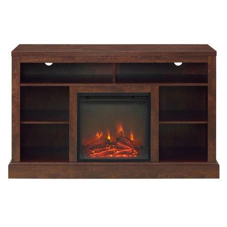 console haute pour t l viseur avec chemin e et rangement ouvert de 132 cm 52 po brun. Black Bedroom Furniture Sets. Home Design Ideas