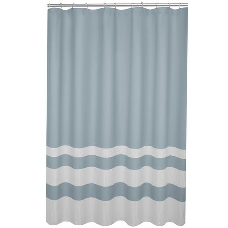Hometrends Home Trends Textured Waffle Stripe Fabric Shower Curtain