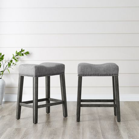 Marvelous Oakland 26 Saddle Counter Stool Set Of 2 Grey Andrewgaddart Wooden Chair Designs For Living Room Andrewgaddartcom