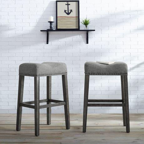 Groovy Oakland 30 Saddle Counter Stool Set Of 2 Grey Walmart Inzonedesignstudio Interior Chair Design Inzonedesignstudiocom