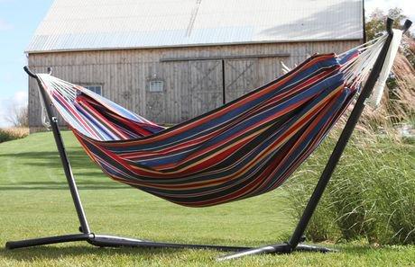 combinaison hamac double en polyester avec support de vivere 9 pi walmart canada. Black Bedroom Furniture Sets. Home Design Ideas