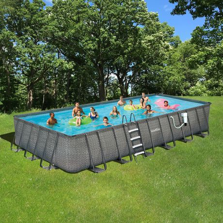 Summer waves elite dark wicker rectangular metal frame - Summer waves pool ...