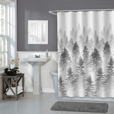Rideau de douche en tissu Aspen Home Trends, 178 cm x 183 cm (70 po x 72  po), gris