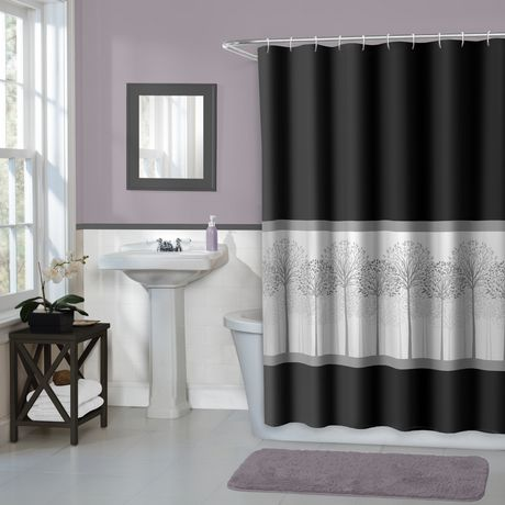 Hometrends Home Trends Timber Fabric Shower Curtain 70 Inches X 72 Black
