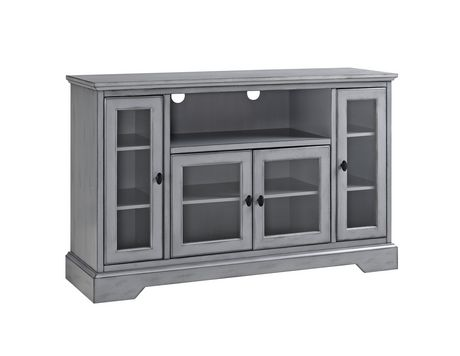 """Manor Park 52"""" Wood Highboy TV Media Stand Storage Console - Antique Grey - image 6 of 7"""