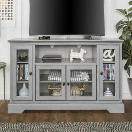 """Manor Park 52"""" Wood Highboy TV Media Stand Storage Console - Antique Grey - image 2 of 7"""