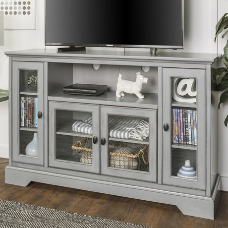 """Manor Park 52"""" Wood Highboy TV Media Stand Storage Console - Antique Grey - image 3 of 7"""