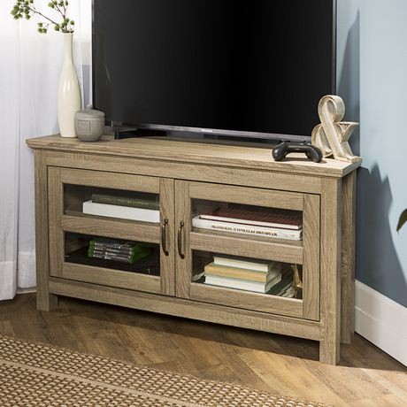 console de coin pour t l viseur et rangement m dias en bois de 111 7 cm 44 po bois flott. Black Bedroom Furniture Sets. Home Design Ideas