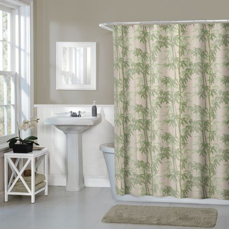 Hometrends Home Trends Bamboo Floral Fabric Shower Curtain 70 Inches X 72 Green