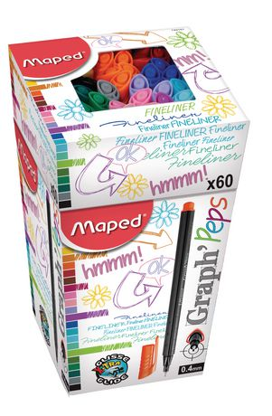 Maped Graph Peps 20 Assorted Coloured Fineliners 0.4mm Fine Point