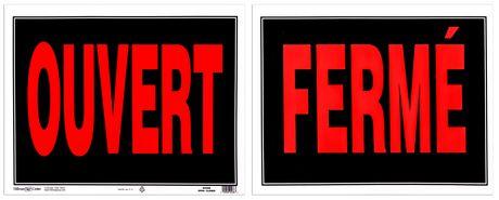 Affiche géante Hillman en plastique « Ouvert/fermé » en rouge/noir - image 1 de 1