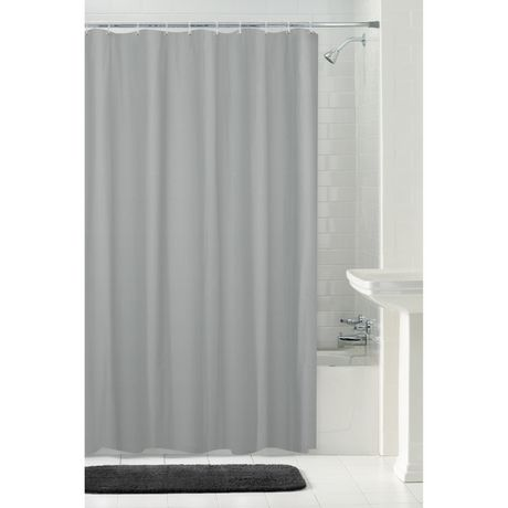 MAINSTAYS Waterproof Herringbone Fabric Shower Curtain Or Liner, 70 Inches X 72 Inches, Grey - image 1 of 4