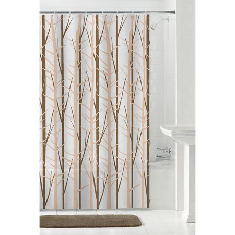 MAINSTAYS Peva Woodland Shower Curtain Or Liner 70 Inches X 72 Brown