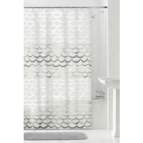 MAINSTAYS Peva The Sea Shower Curtain Or Liner 70 Inches X 72 Grey