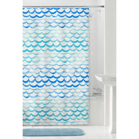 MAINSTAYS Peva The Sea Shower Curtain Or Liner 70 Inches X 72 Blue