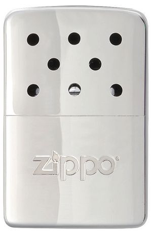 Silver chrome Zippo hand warmer that resembles a Zippo lighter