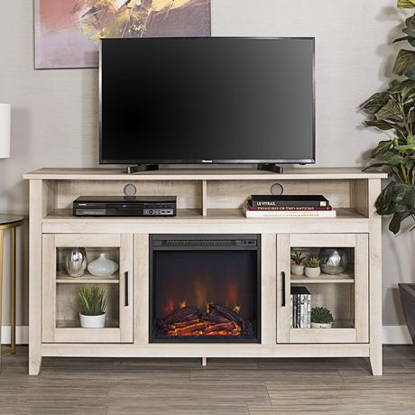 Manor Park 58 Wood Highboy Fireplace Media Tv Stand Console White