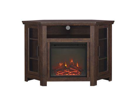 manor park 48 wood corner fireplace media tv stand console rh walmart ca wood corner fireplace designs wood burning corner fireplace