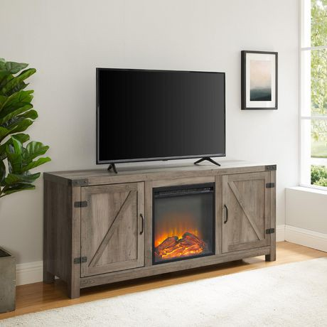 meuble tv avec chemin e et porte de grange en bois de 147 32 cm 58 po lavis gris walmart. Black Bedroom Furniture Sets. Home Design Ideas