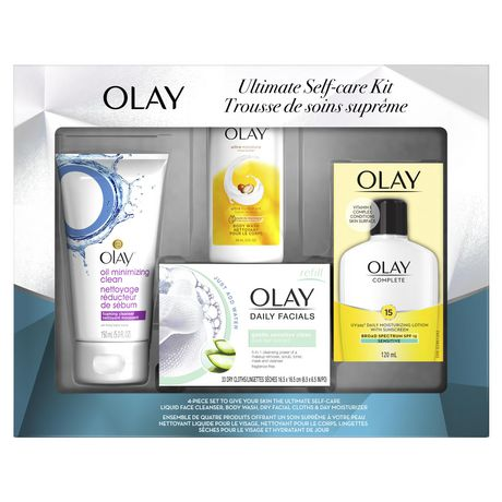 Boxed kit from Olay containing body wash, foaming cleanser, moisturizing lotion with sunscreen and facial dry cloths