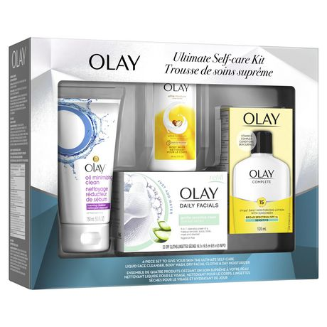 Olay Ultimate Self-Care Kit (Body Wash + Oil Minimizing Foaming Cleanser + Daily Moisturizing Lotion with Sunscreen + Daily Facials Dry Cloths) - image 2 of 5