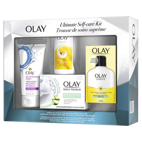 Olay Ultimate Self-Care Kit (Body Wash + Oil Minimizing Foaming Cleanser + Daily Moisturizing Lotion with Sunscreen + Daily Facials Dry Cloths) - image 3 of 5
