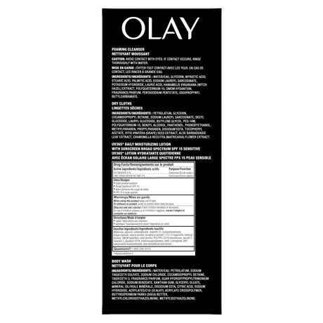 Olay Ultimate Self-Care Kit (Body Wash + Oil Minimizing Foaming Cleanser + Daily Moisturizing Lotion with Sunscreen + Daily Facials Dry Cloths) - image 5 of 5