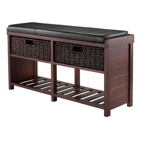 Winsome Colin Bench with Cushion Seat and Baskets - 40438 - image 1 of 3