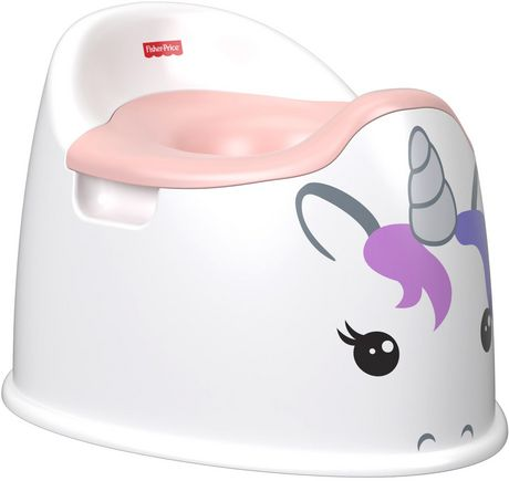 White plastic unicorn-styled training potty by Fisher-Price